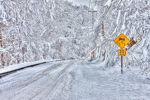 Slow Going Cliff Mine Road 2010 Winter Snow Storm Pennsylvania