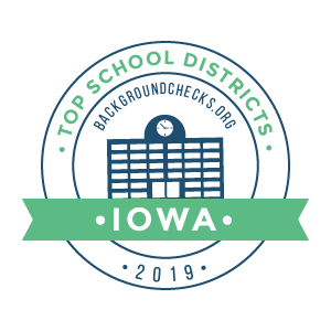 bc top school districts, 2019 - iowa - badge