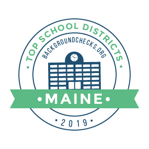 bc top school districts, 2019 - maine - badge
